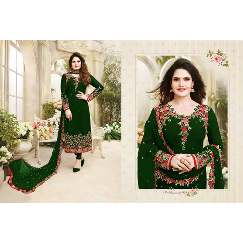 Ladies Green Embroided Georgette Dress