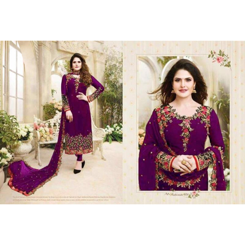 Ladies Purple Embroided Georgette Dress
