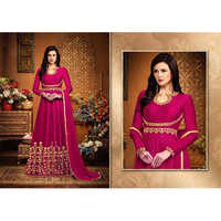 Ladies Pink Banglory Embroidery Silk Suit