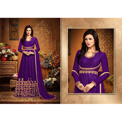 Ladies Purple Banglory Embroidery Silk Suit