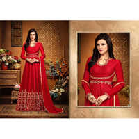 Ladies Red Banglory Embroidery Silk Suit