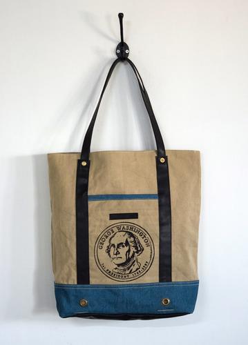 denim canvas printed tote bag
