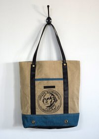 denim canvas printed tote bag