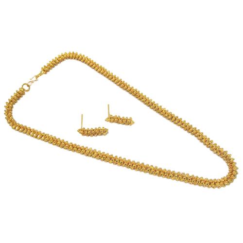 Golden Gajara Temple Necklace Set