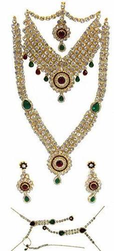 Maroon Green Stone Drop Bridal Necklace Set