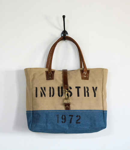 canvas denim industry printed mini tote
