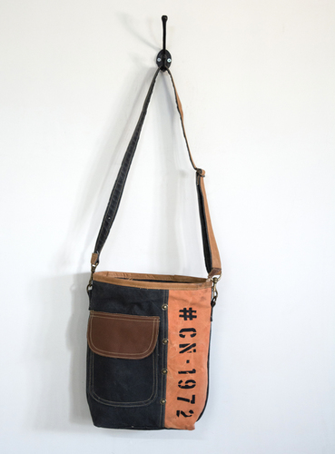 orange black crossbody bag
