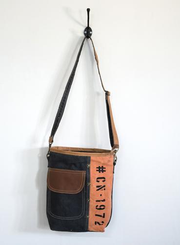 orange black crossbody bag