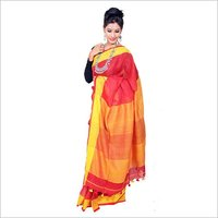 Red Plain Linen Saree