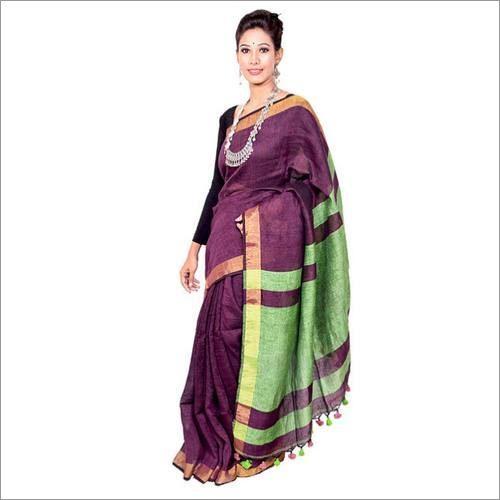 Zari Border Linen Saree