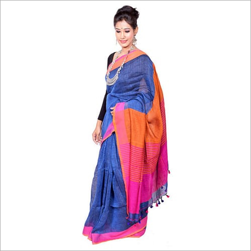 Blue Plain Linen Saree