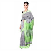 Green Plain Linen Saree