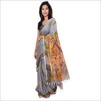Hand Painted Linen Saree