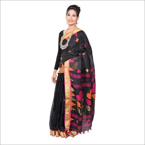 Black Linen Jamdani Saree