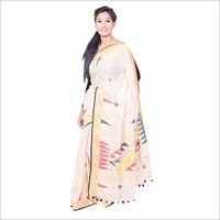 Cream Linen Jamdani Saree