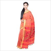 Red Linen Jamdani Saree