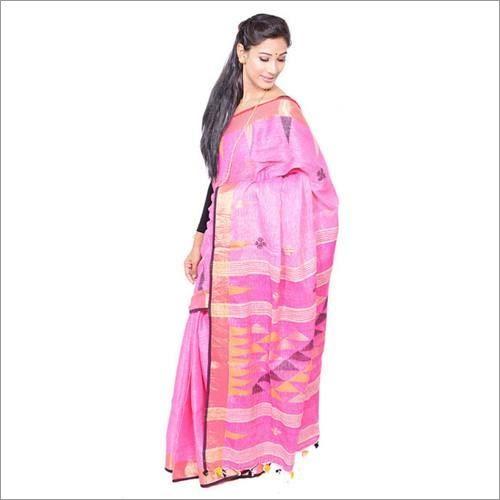 Pink Linen Jamdani Saree
