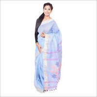 Blue Linen Jamdani Saree