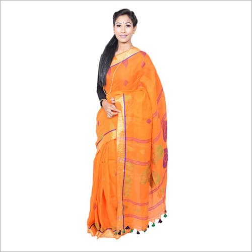 Orange Jamdani Saree