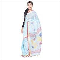 Sky Blue Linen Jamdani Saree