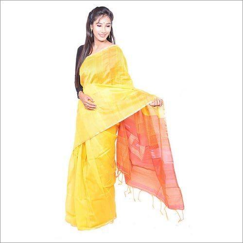 Yellow Red Handloom Saree