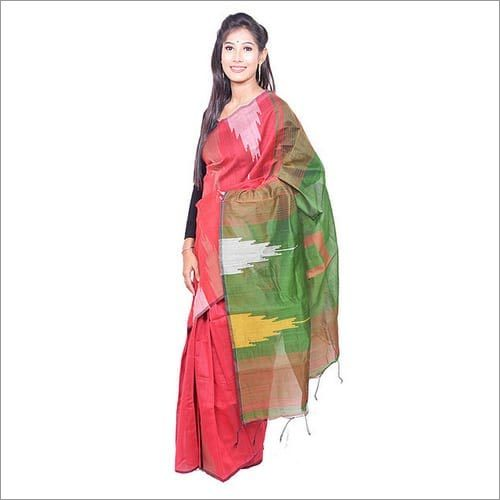 Red Green Handloom Saree