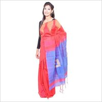 Red Blue Handloom Saree