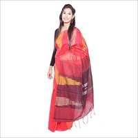 Red Black Handloom Saree
