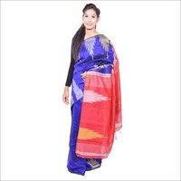 Blue Red handloom Saree