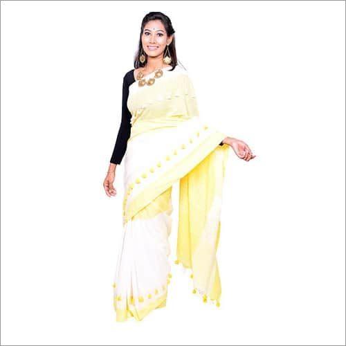 White Pure Khadi Handloom Saree