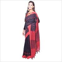 Black Red Khadi Handloom Saree