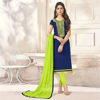 Fancy Cotton Jacquard Plain Churidar Salwar Suit