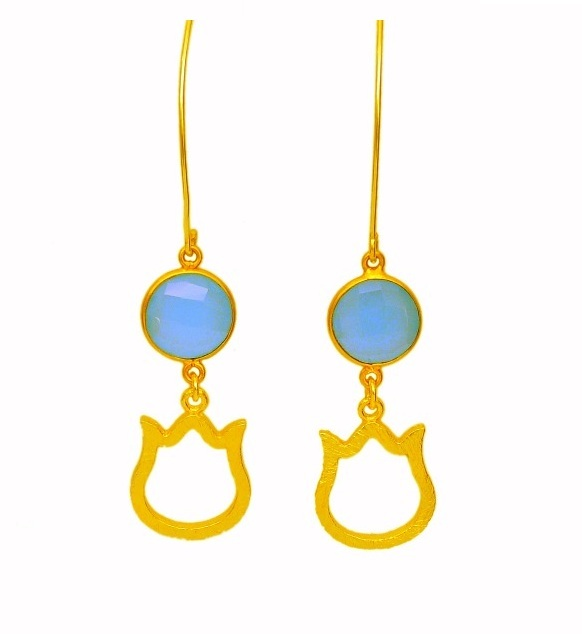 Newly Arrived Gemstone Drop Earrings With Charms - Gold Plated Long Earrings For Women