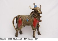 Brass Dhokra Bull Statue