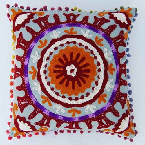 Embroidered Cushion Cover Suzani Sofa Pillow Case