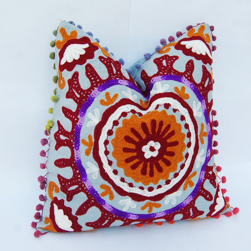 INDIAN EMBROIDERED CUSHION COVER SUZANI SOFA PILLOW CASE HOME DECOR