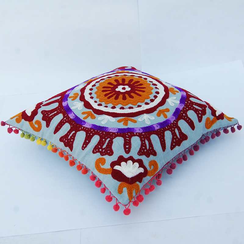 Embroidered Cushion Cover Suzani Sofa Pillow Case