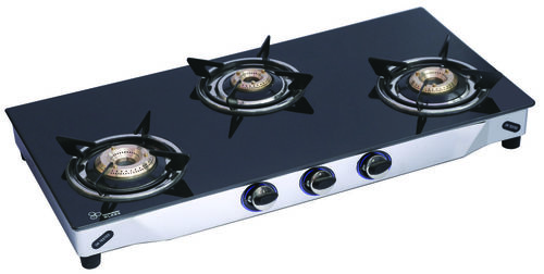 LPG STOVE BLACK GLASS 3 BURNER