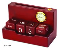 Calendar with clock and Pen Stand