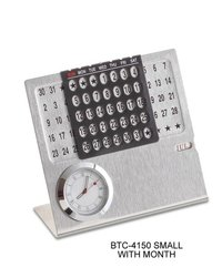 Small Metal Calendar with Month and Clock