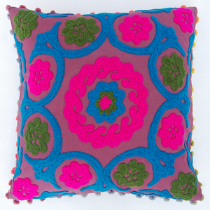 Suzani INDIAN EMBROIDERED CUSHION COVER SUZANI SOFA PILLOW CASE