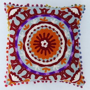 Suzani Vintage Handmade Embroidery Cushion Pillow Cover Indian Decorative