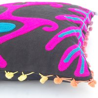 Indian Suzani  Embroidered Pom Pom Suzani Cushion Cover 16