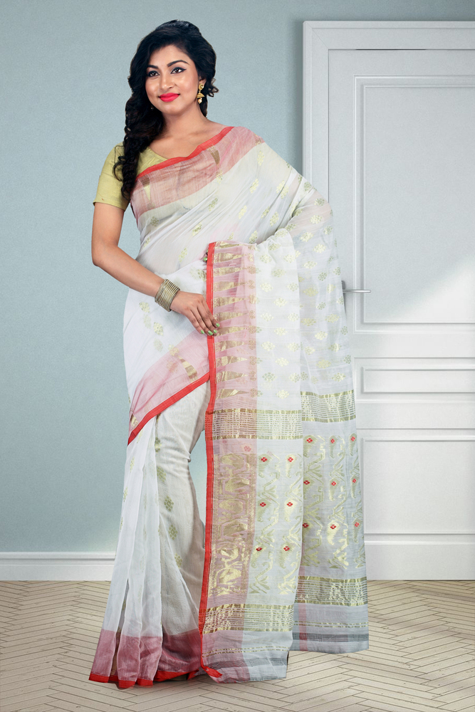 06f938e3eec Buymyethnic Embroidered Jamdani Handloom Silk Cotton Blend Saree (White) -  STYLECO BOUTIQUE