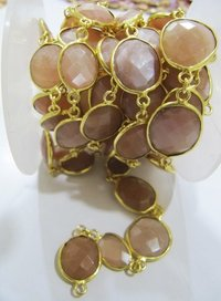 Natural Peach Moonstone Uneven Shape Briolette Connector Chain