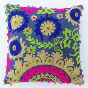 Suzani Pillow Cases Hand Embroidered Cushion Cover 16x16 Decorative  suzani cushion cover