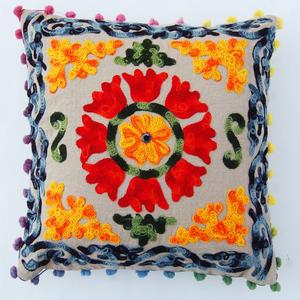 Uzbek Suzani Embroidered Pillow Indian Vintage Cushion Cover 16X16