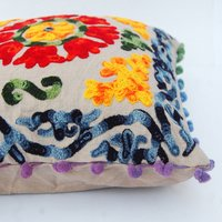 Uzbek Suzani Embroidered Pillow Indian Vintage Cushion Cover 16X16