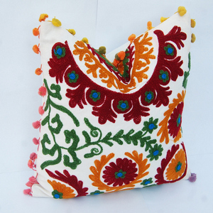 Traditional Suzani Embroidered Cushion Cover Indian Pillow Case Uzbek