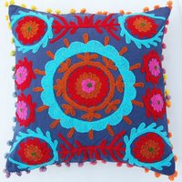 Indian Uzbek Suzani Embroidered Cushion Cover Square Decorative Pillow 16X16